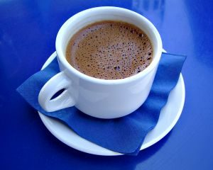 Greek coffee in blue and white